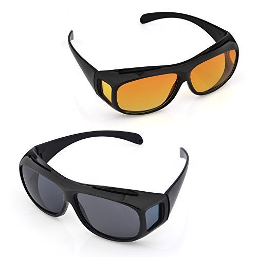 MAPPLE CREATION Day & Night Unisex HD Vision Goggles Sunglasses Men/Women Driving Glasses Sun Glasses (Yellow-Black) Combo Pack Set of 2
