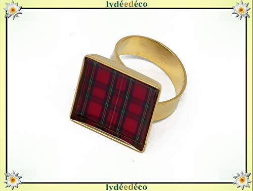 Harzring rot Schottland Tartan Outlander Gold verstellbar Quadrat 17mm Messing Gold 24K Feingold personalisierte Geschenke Weihnachts zeremonie Hochzeit Gäste Muttertag