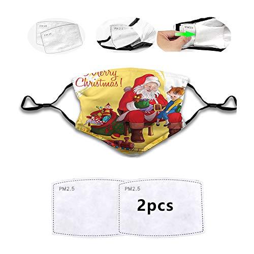 Cómoda cubierta facial resistente al viento, niño pequeño sentado en la rodilla de Santa con regalos muñeca y tren de juguete para niños