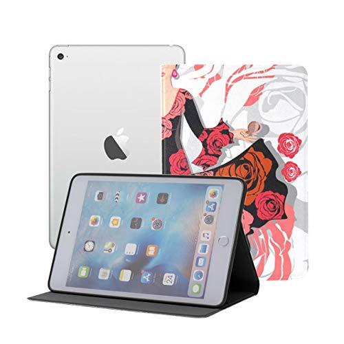 LIANGWE iPad Mini Folio Case Beautiful Pretty Girl con Rose Estuche para Mini iPad iPad Mini 1/2/3 Auto Sleep/Wake con visualización de múltiples ángulos para iPad Mini 3 / Mini 2 / Mini