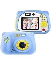 Cadeaus voor digitale camera's voor kinderen voor meisjes van 3-12 jaar, Pancellent WiFi-camcorderspeelgoed Cadeau voor jongens 12.0MP 1080P-scherm en 16G-geheugenkaart, kinderen met zachte siliconen omhulsel voor buitenspelen (blauw)