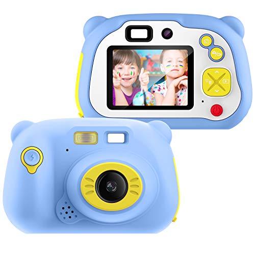 Appareil Photo pour Enfant, avec Carte TF 16 Go, Caméra Selfie Rechargeable Numérique pour Enfants, Ecran à 2 Pouces,Objectif HD 1200 mégapixels 1080P, Coque en Silicone Résistant aux Chocs (Bleu)