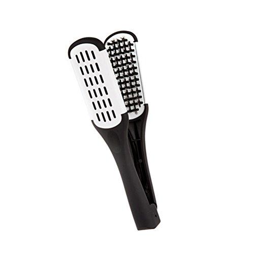 ULTNICE Peine de alisado del pelo herramientas de estilismo cerda de cerdo doble cara peine cepillo abrazadera (negro blanco)