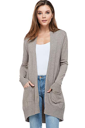 Alexander + David Sweaters for Women Basic Open Front Knit Cardigan Sweater Top w/Pockets (Mocha, Medium/Large)