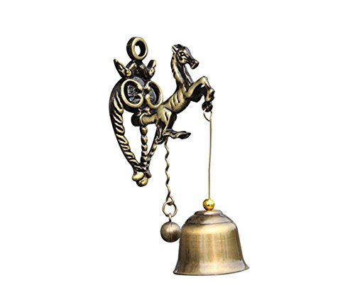 MUAMAX Antique Horse Doorbell Shopkeepers Bell Garden Porch Ornaments Brass Store Vintage Entrance Magnetic Doorbell (Horse)