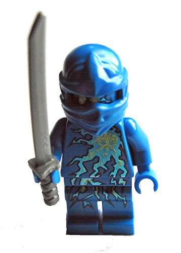 Minifigura de ninja Jay NRG de Lego Ninjago, incluye espada plateada.