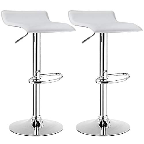 COSTWAY Bar Stool, Swivel Adjustable Contemporary Stools, Modern Design Chrome Hydraulic PU Leather Backless Barstools (White, Set of 2)