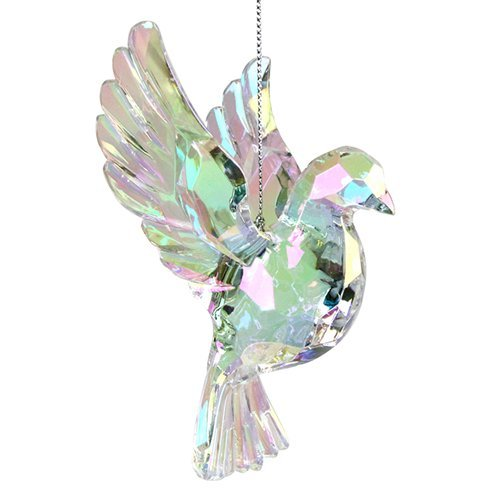 Gisela Graham : Christmas Decoration : Glass Effect Rainbow Iridescent Flying Dove