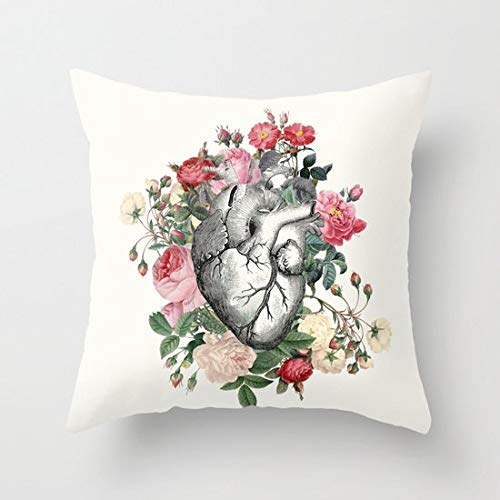Toll2452 Roses for her Heart Throw Pillow Cover Love valentine gift for her love rectangular anatomical heart roses cushion cute sofa bed dorm