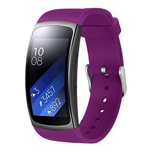 1 PC pulseira de silicone pulseira de pulso pulseira de substituição de pulseira compatível para Gear Fit2 Pro roxo