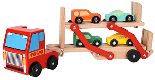 TOWO Wooden Car Transporter Toy Double Decker Trailer with 4 Cars ramp Racer - Wooden car Toy Truck Carrier for 3 Years Old Boys Vehicle Toys for Kids