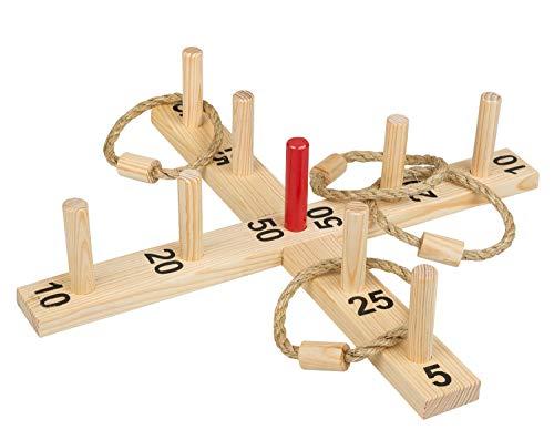 Idena 40158 - Ringwurfspiel aus Holz mit 9 Spielstäben, 4 Ringen aus Sisal, für drinnen und draußen, ca. 50 x 50 cm, Spiel für den Sommer, im Garten oder Park