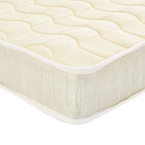 Panana 5ft King Size Mattress, King Size Foam Spring Mattress Budget High Density Foam Sprung Mattress, 150 x 190 x 20cm, Cream, Wavy Pattern
