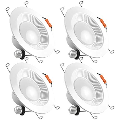 Luxrite 5/6 Inch LED Recessed Light, 15W (120W Equivalent), 5000K Bright White, 1300lm, Dimmable, Retrofit LED Can Light, Energy Star & UL, Damp Rated - Perfect for Kitchen, Bathroom, Office (4 Pack)