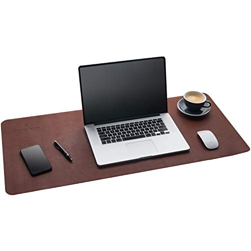 Gallaway Leather Desk Pad – 36 x 17 inch Large Mouse Pad - Desk Mat Home Office Desk Accessories Desktop Protector Non Slip Writing Desk Blotter (Dark Brown)