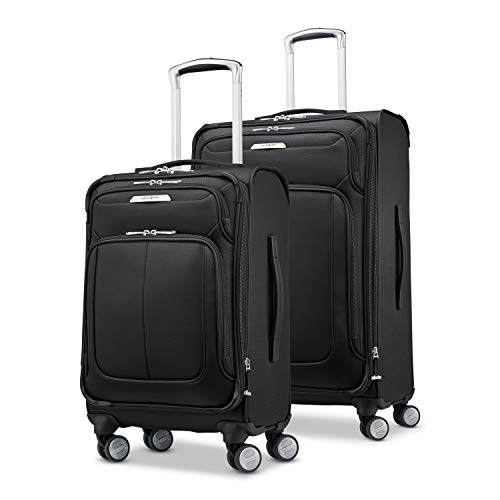 Samsonite Solyte DLX Softside Expandable Luggage with Spinner Wheels, Midnight Black, 2-Piece Set (20/25)