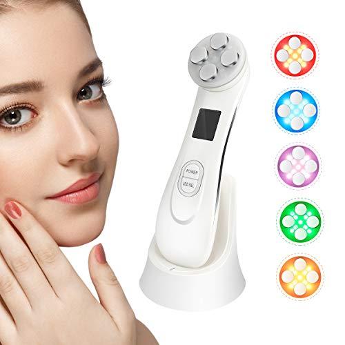 Ultraschallgerät Schönheit Gerät E-More 5 in1 Massagegerät Maschine Mitesser Akne Entferne Falten/Aging Hautpflege für Körper und Gesicht Kosmetischer Ultraschall mit 6 Modi LED Toninggeräte