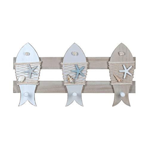 Percha de Pared Decorativa Marinera de Madera 3 Pomos Peces. Percheros. Adornos y Muebles Auxiliares. Decoración Hogar. Regalos Originales. 45 x 5 x 24 cm