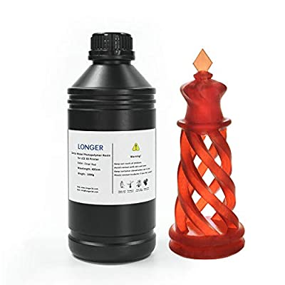 LONGER 3D Printer Resin LCD Light Curing Resin Standard Rapid Photopolymer Resin for DLP/LCD 3D Printing (1000g, Transparent Red)