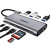 USB C Hub, Laptop Docking Station, Triple Display, Ludtom 11 in 1 Typ C Adapter für 2 HDMI , VGA , Ethernet , SD / TF Karten, 2 * USB 2.0,2 * USB 3.0, PD Aufladung, Kompatibel für Windows, MacBook