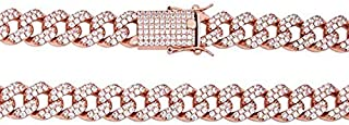 Harlembling 14k Rose Gold Over Solid 925 Sterling Silver Men's Iced Out Miami Cuban Chain - Heavy 200-320 Grams 15mm Cuban Link - ICY Bust Down