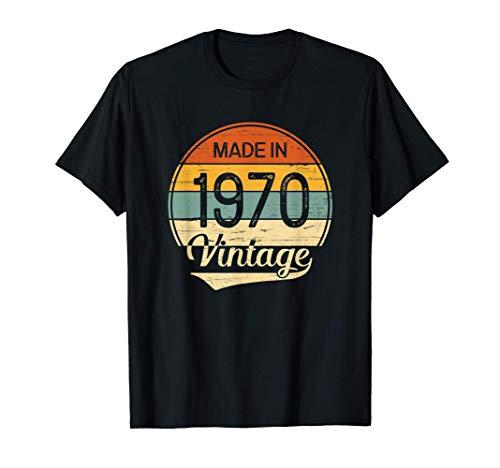 Regalo Hombre Mujer Cumpleaños 51 Años Vintage Made in 1970 Camiseta