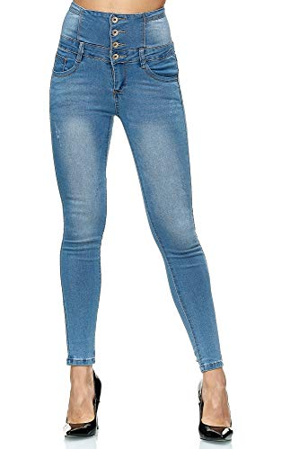 Elara Damen Jeans High Waist Push Up Skinny Fit Chunkyrayan 1166 Blue-36 (S)