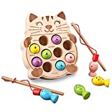 Wooden Fishing Game Montessori Toys for Toddlers Magnetic Cat-Shape Fishing Toy Fine Motor Skill Learning with Fishing Pole Fishes Preschool Gifts for Kids Children