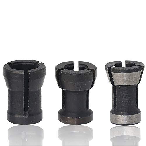 Bestgle Fresadora Adaptador,adaptadores de portabrocas para carpintería 6/6.35/8 mm Adaptador de Piezas de Fresadora para Máquina de Grabado y Fresadora de Madera