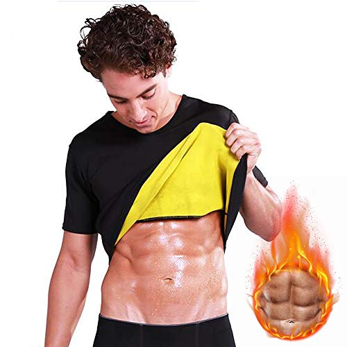 Camisa mais fina, Romacci Terno masculino de treino para sauna e neoprene manga curta Sweat Shirt Body Shaper Training para perda de peso