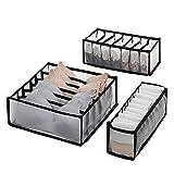 Wishstar Organizador Ropa Interior, Cajas Organizadoras Cajones Plegable, Juego de 3 Cajas Ordenación Armario para Ropa Interior/Bra/Calcetines/Bufandas - Negro