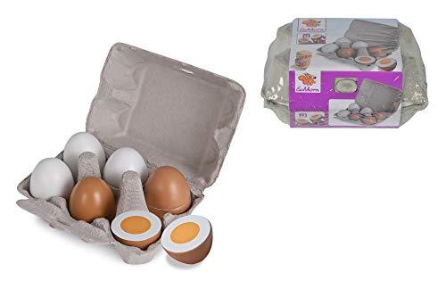 Eichhorn 100003737 - Eierbox mit 6 Eiern, 3x mit Magnetfunktion, 10,5 x 16 x 7cm, Kaufladenzubehör, Birkenholz