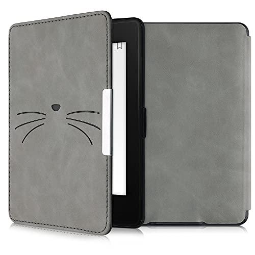 kwmobile Schutzhülle kompatibel mit Amazon Kindle Paperwhite - Hülle Kunstleder eReader (für Modelle bis 2017) - Katze MIAU Grau