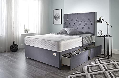 Bed Centre Ziggy Grey Plush Memory Foam Divan Bed Set With Mattress, 2 Drawers (Same Side) and Headboard (King (150cm X 200cm))