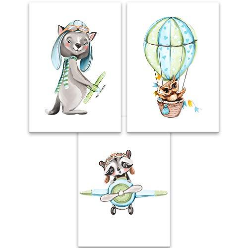 Lilcastle® | 3er Set Poster Kinderzimmer Deko für Junge DIN A4 Mint | Piloten Waschbär Wolf und Eule in Flugzeug und Ballon| Tiere Bilder Wandbild Babyzimmer Dekoration
