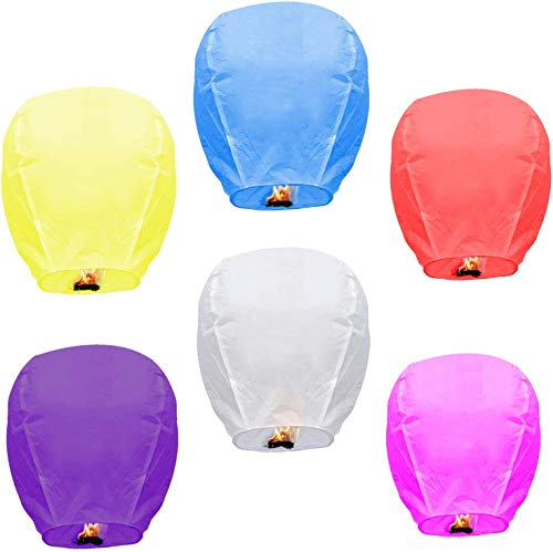 Sky Lanterns Flying Paper Lanterns (6-Pack) Chinese Lanterns Multicolour Lanterns for Weddings, Birthdays, Memorials and Much More