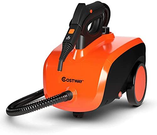 COSTWAY Multipurpose Steam Cleaner with 19 Accessories, Heavy Duty Household Steamer Chemical-Free Cleaning, 1.5L Dual-Tank Rolling Cleaning Machine for Carpet, Floor, Window and Car, Orange+Black