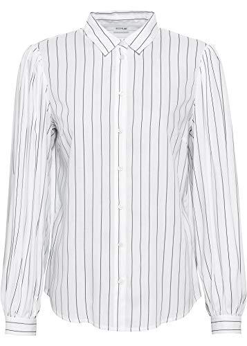 bonprix Bluse mit Ballon-Ärmeln weiß/schwarz gestreift 34 für Damen