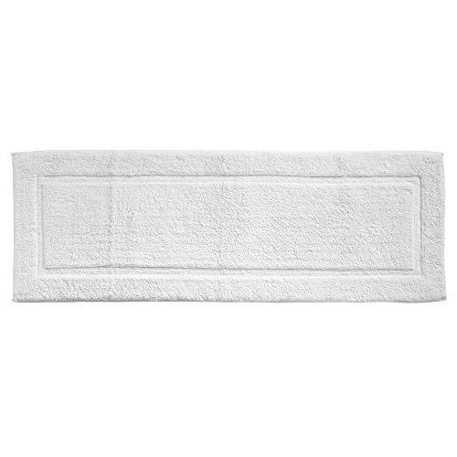 mDesign Soft 100% Cotton Luxury Hotel-Style Rectangular Spa Mat Rug, Plush Water Absorbent, Decorative Border for Bathroom Vanity Bathtub/Shower, Machine Washable Long Runner - White