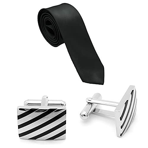 Tumundo Set de 1 Cravate + 2 Boutons de Manchette en Acier + boîte Cadeau élégante Homme, Variante:Modell 1