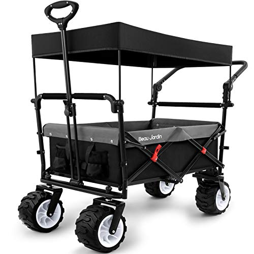 BEAU JARDIN Folding Push Wagon Cart with Canopy Collapsible Utility Camping Grocery Canvas Fabric Sturdy Portable Rolling Lightweight Buggies Outdoor Garden Sport Heavy Duty Shopping Wide Wheel Black