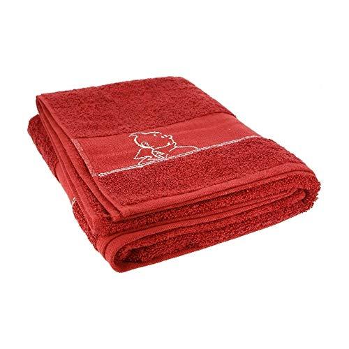 Moulinsart Toalla de baño Tintín 100% Algodón - Rojo (150x90cm)