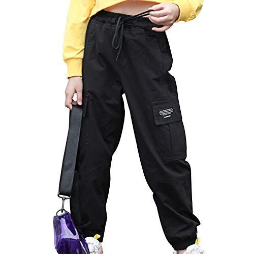 inhzoy Kinder Mädchen Cargohose Kordelzug Jogginghose Sporthose Jogger Trainingshose Mit Taschen Hip Hop Tanz Streetwear Freizeit Loungehose Schwarz 158-164