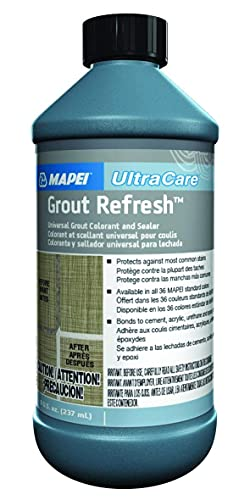 Mapei Grout Refresh Colorant and Sealer: Grout Paint and Cleaner to Repair, Restore, and Renew Tile Grout - Grout Stain and Gap Filler to Dye, Color, and Fix Grout Lines - 8oz Bottle, Avalanche