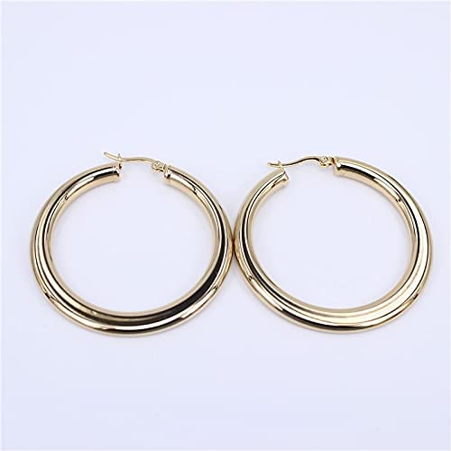 DQH MGUB 50-60mm Hollow Flat body Smooth stainless steel female fashion Features earrings Popular Pretty gift LH461 (Metal Color: diameter 50mm)