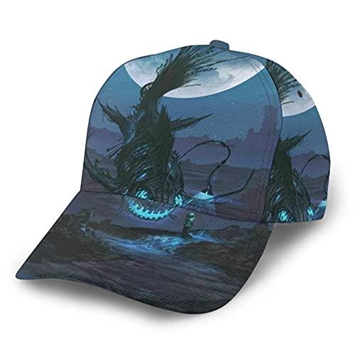 HARLEY BURTON Gorra de béisbol unisex con estampado de animales negros linterna de pescado ajustable empalme Hip Hop Cap Sun Hat