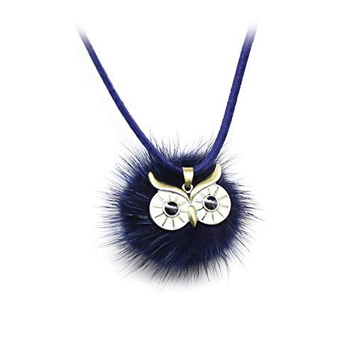 DGSDFGAH Collar De Mujer Exquisita Bola De Piel De Pompón Azul con Forma De Búho Colgante, Collar Largo, Encanto De Cuero para Mujer, Elegante, Simple, Suéter, Cadena, Collares, Joyería