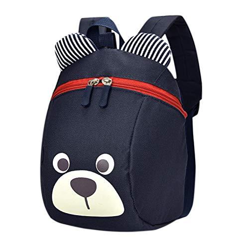 De feuilles Sac à Dos Bébé Enfant Filles Garçon Backpack Mignon Motif Imprimé Sac à Dos école avec Sangles de Sécurité (Bleu Marine)