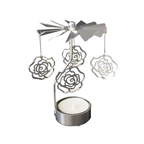 Qingsb Romantic Rotation Candlestick Metal Candle Holder Beauty Rotary Spinning Carousel GOUD ENGELEN Licht kerstcadeau Kandelaar, roze