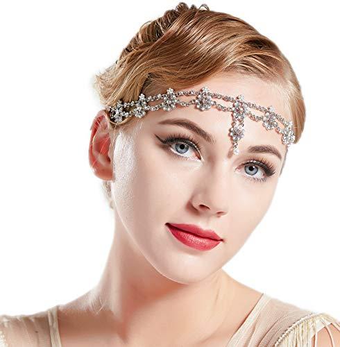 Coucoland Fascia per capelli da donna anni '20 anni '20, accessorio per costume di carnevale argento Taglia unica